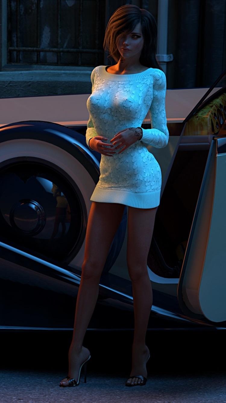 3dレンダリング ストリートでの女の子と車 750x1334 Iphone 8 7 6 6s 壁紙 背景 画像