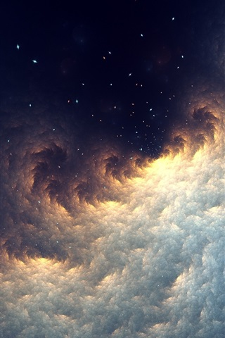 iPhone Wallpaper Abstract fractal, space, stars