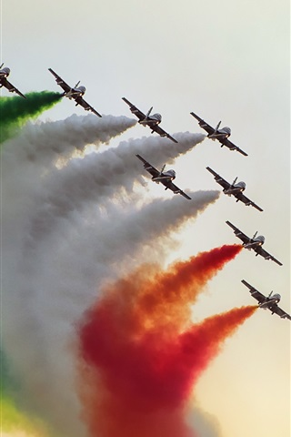 iPhone Wallpaper Aircraft flight show, colorful smoke