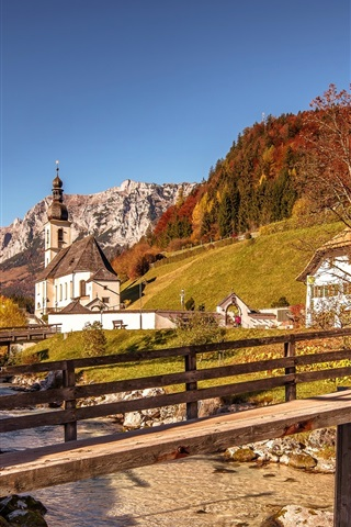 iPhone Wallpaper Alps, wooden bridge, river, mountains, church, houses, Germany, Bayern