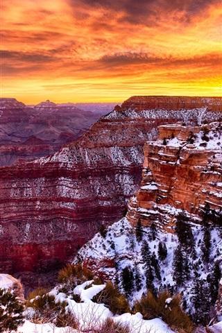 iPhone Wallpaper America, Grand Canyon beautiful landscape, winter, snow, sunset