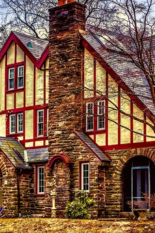 iPhone Wallpaper American Tudor, mansion, house, trees, HDR style