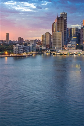 iPhone Wallpaper Australia, Sydney, Opera, sea, skyscraper