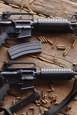 iPhone Wallpaper Automatic rifles, ammunition, guns, weapon
