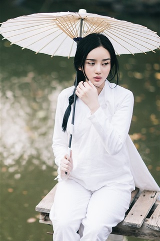 iPhone Wallpaper Beautiful Chinese girl, white dress, umbrella, pier, lake