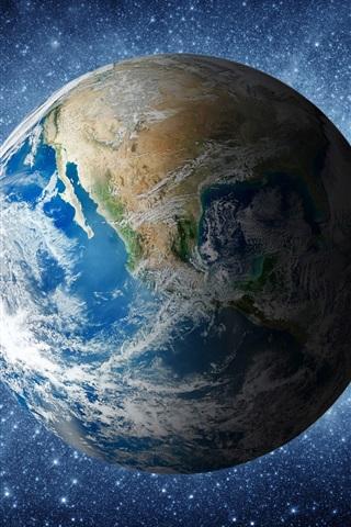 iPhone Обои Красивая голубая земля в космосе, свет звезд