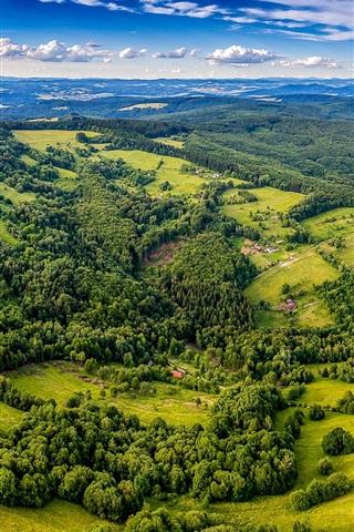 iPhone Wallpaper Beautiful landscape, top view, trees, village, greens, Czech Republic