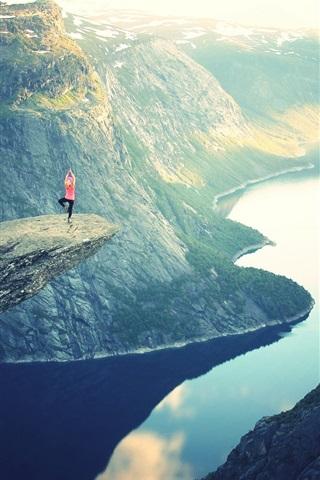 iPhone Wallpaper Beautiful nature landscape, lake, mountains, rocks, sun rays, girl, yoga