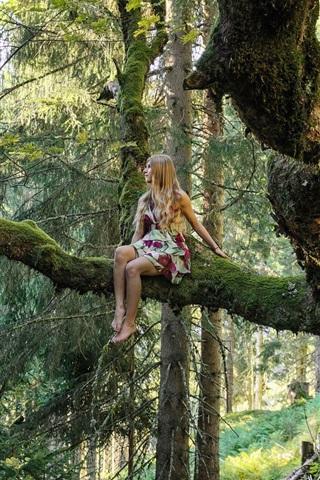iPhone Wallpaper Blonde girl, forest, tree, moss