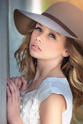 iPhone Wallpaper Blonde girl, look, hat
