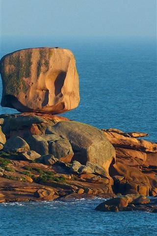 iPhone Wallpaper Blue sea, rocks