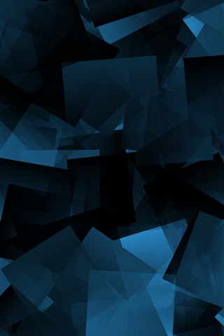 iPhone Wallpaper Blue shapes, abstract, black background