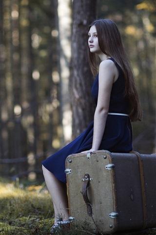 iPhone Wallpaper Blue skirt girl, long hair, suitcase, forest