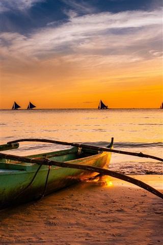 iPhone Wallpaper Boat, sea, sunset