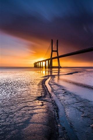 iPhone Wallpaper Bridge, sea, coast, sunset, Lisbon, Portugal
