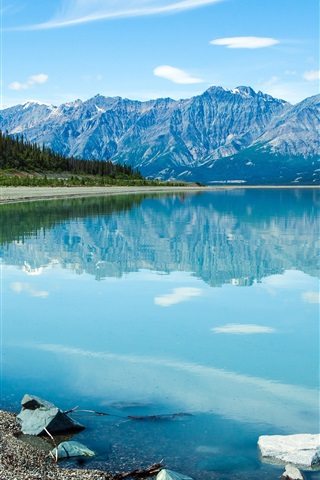 iPhone Wallpaper Canada, beautiful lake, clear water, mountains, clouds, blue sky