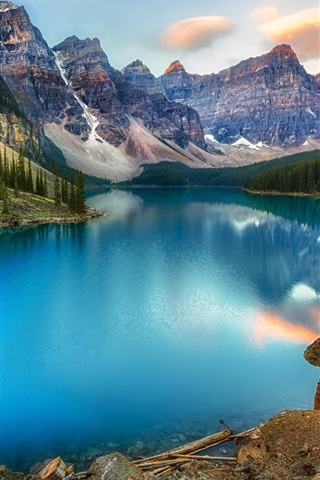iPhone Wallpaper Canada, lake, mountains, forest, beautiful nature landscape