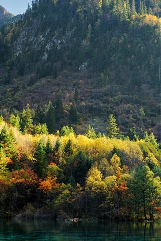iPhone Wallpaper China, Jiuzhaigou, trees, mountains, lake, autumn