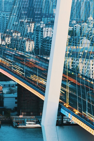 iPhone Wallpaper China, Shanghai, bridge, river