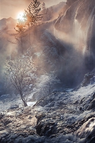 iPhone Wallpaper China, beautiful waterfalls, forest, trees, stream, mountains, fog, sunrise