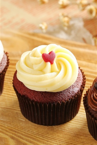 iPhone Wallpaper Chocolate cupcakes, muffins, cream