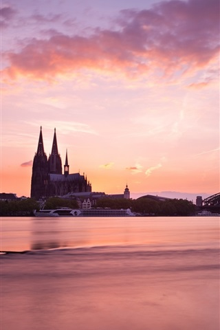 iPhone Wallpaper Cologne, Germany, morning, buildings, bridge, river, red sky