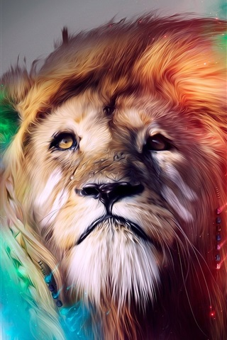 iPhone Wallpaper Creative design, lion face, colors