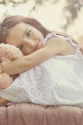 iPhone Papéis de Parede Menina infantil linda como seu ursinho de pelúcia