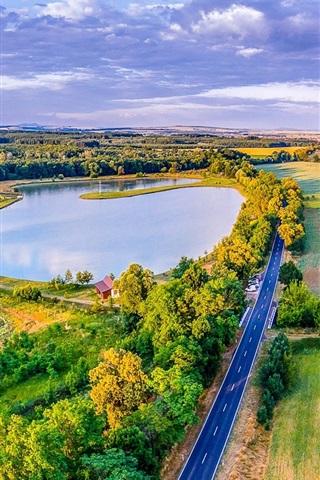 iPhone Wallpaper Czech Republic, road, greens, fields, lake, trees, houses