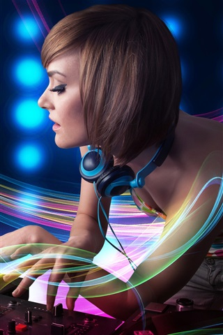iPhone Wallpaper DJ, girl, abstraction lines, headphones, record, music theme