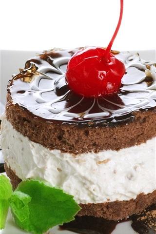 iPhone Wallpaper Dessert, cake, chocolate, cherry