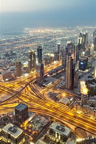 iPhone Wallpaper Dubai, UAE, city, night, skyscrapers, roads, lights