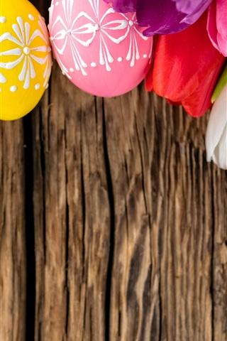 iPhone Обои Яйца и тюльпаны, тема Пасхи