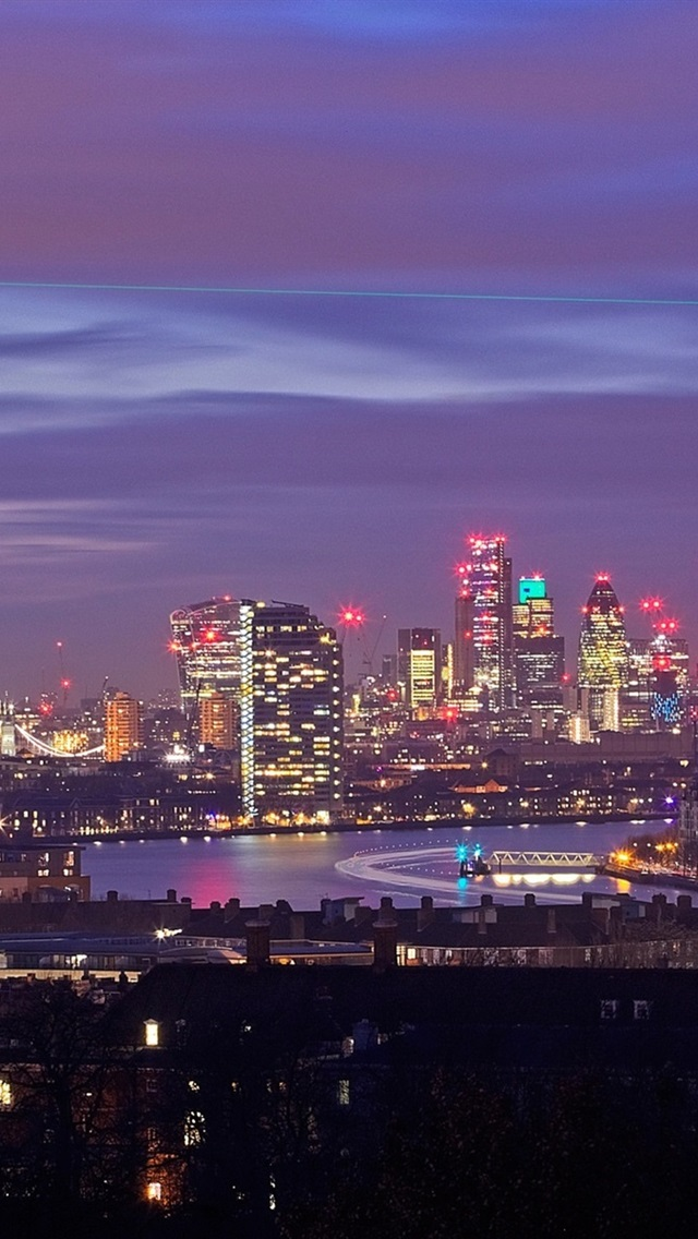 England London Skyscrapers Buildings Lights Night