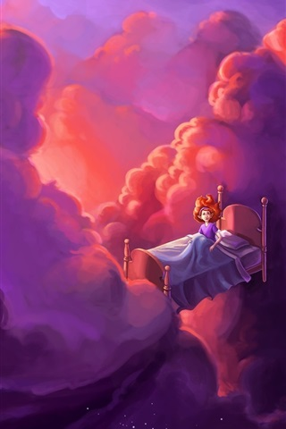 iPhone Wallpaper Fairy tale world, bed, girl, clouds, stars, flight