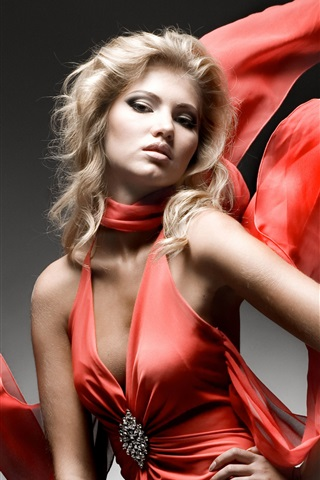iPhone Wallpaper Fashion girl, red dress, art photography