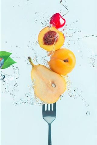 iPhone Wallpaper Fresh fruit, water, cherry, pear, peach, plum, fork