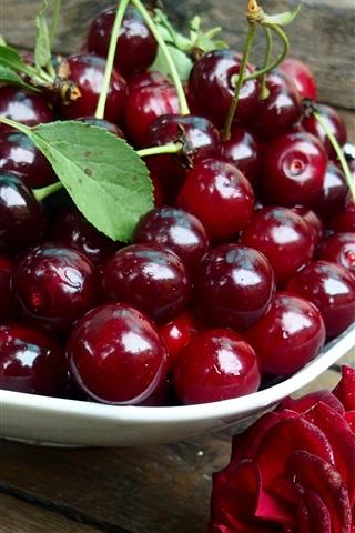 iPhone Wallpaper Fresh red cherries, red rose, water drops