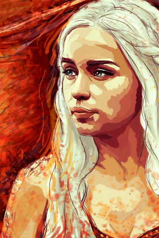 iPhone Wallpaper Game of Thrones, Emilia Clarke, art picture