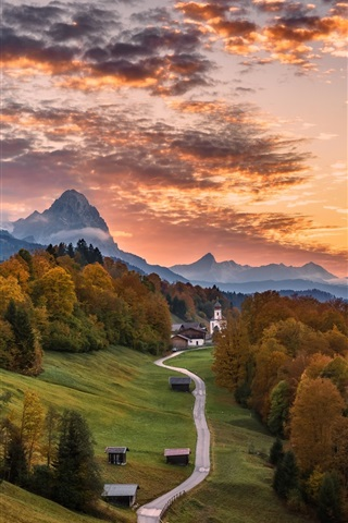 iPhone Wallpaper Germany, Bayern, road, trees, mountains, houses, autumn