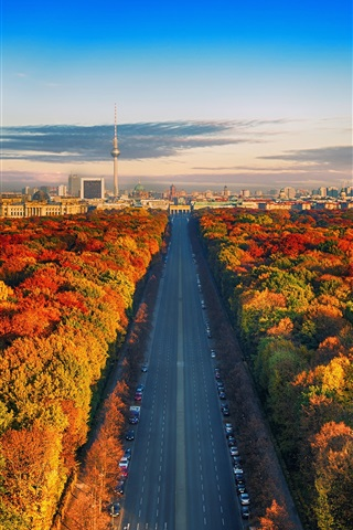 iPhone Wallpaper Germany, Berlin, TV tower, road, trees, city, autumn