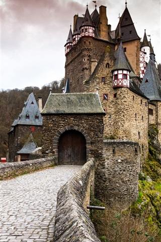 iPhone Wallpaper Germany, ELTZ castle, gate, forest