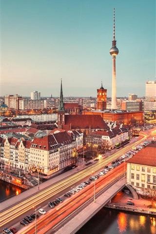 iPhone Wallpaper Germany, city, night, bridge, cars, road, houses, lights, river