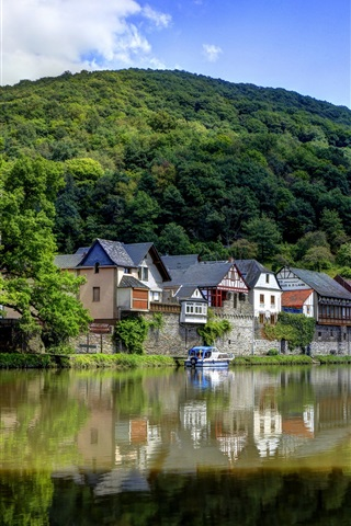 iPhone Wallpaper Germany, river, village, mountains, greens
