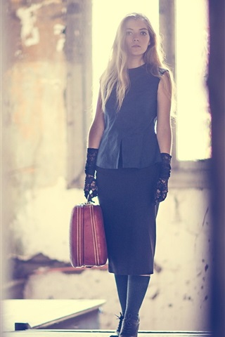iPhone Wallpaper Girl, suitcase, room, light rays