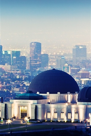 iPhone Wallpaper Griffith Observatory, skyscrapers, night, lights, Los Angeles, USA
