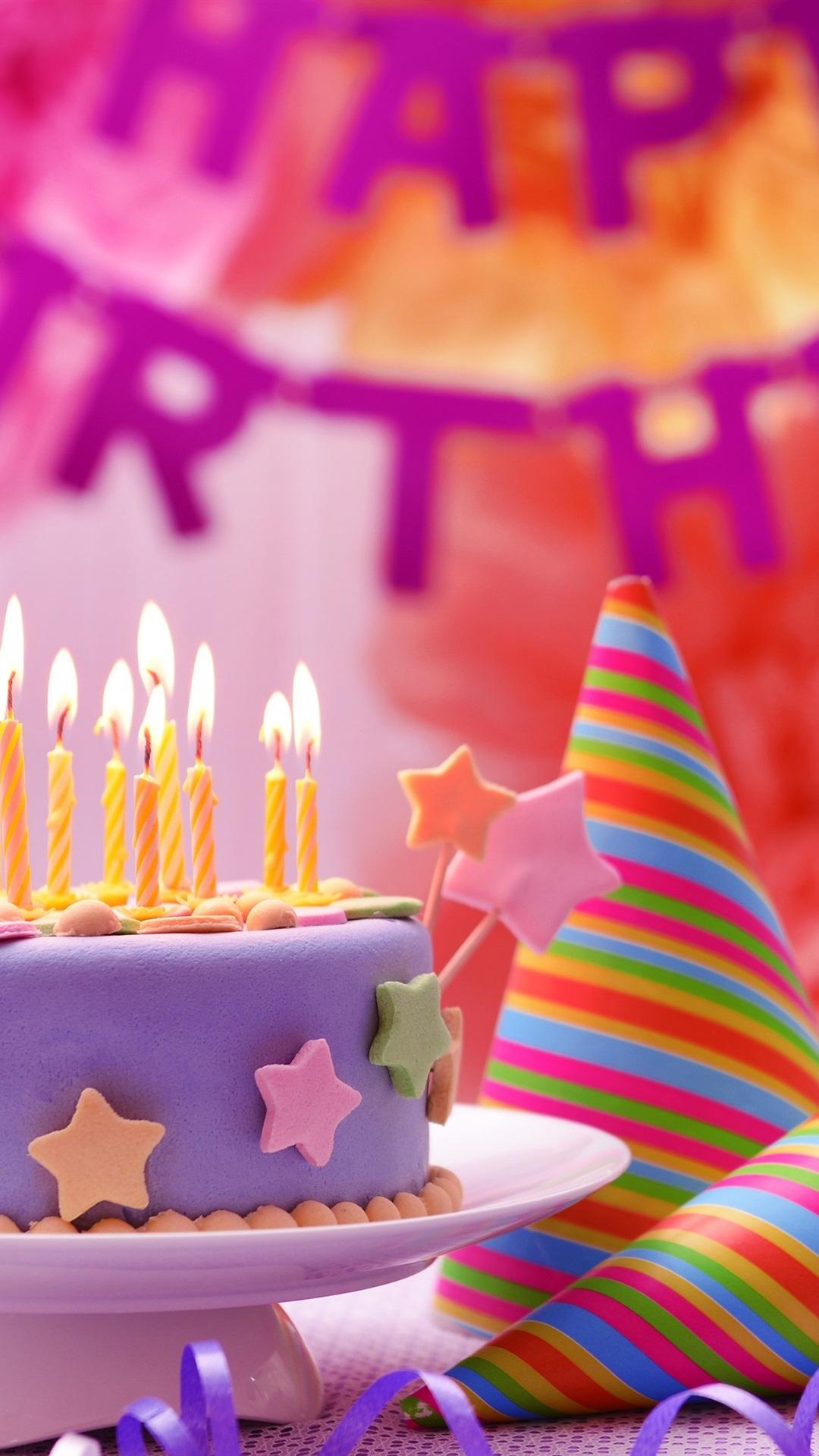 壁纸 生日快乐,蛋糕,五颜六色的装饰,蜡烛,火焰 3840x2160 Uhd 4k 高清壁纸 图片 照片