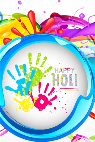 iPhone Wallpaper Happy Holi, colorful painting, Indian festival