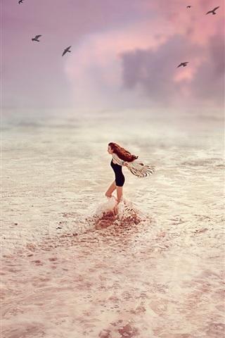 iPhone Wallpaper Happy girl, sea, beach, waves, birds