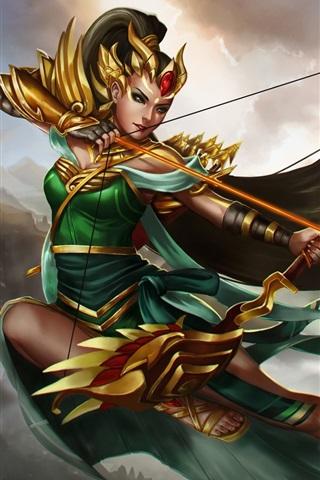 iPhone Papéis de Parede Heróis de Newerth, arqueiro, menina, flechas, arco
